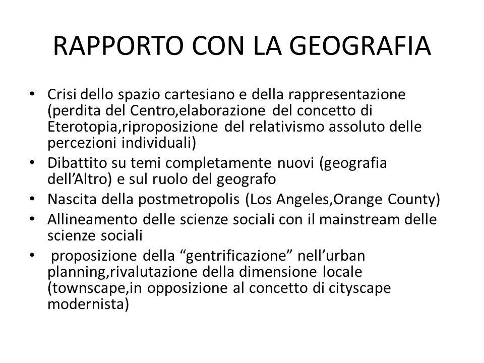 RAPPORTO CON LA GEOGRAFIA Crisi dello spazio cartesiano e della rappresentazione (perdita del Centro,elaborazione del concetto di Eterotopia,riproposi