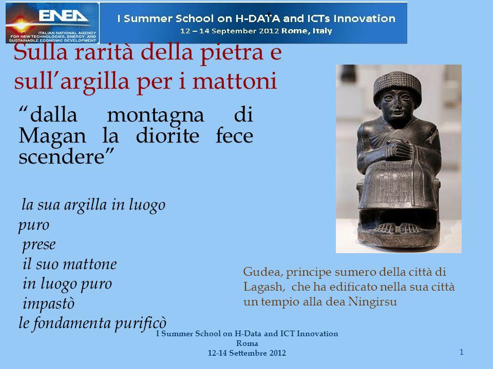 La fabbricazione dei mattoni la consegna dei mattoni per noi [è dura]: 110 mattoni al giorno per uomo 2 I Summer School on H-Data and ICT Innovation Roma 12-14 Settembre 2012 paglia per far mattoni