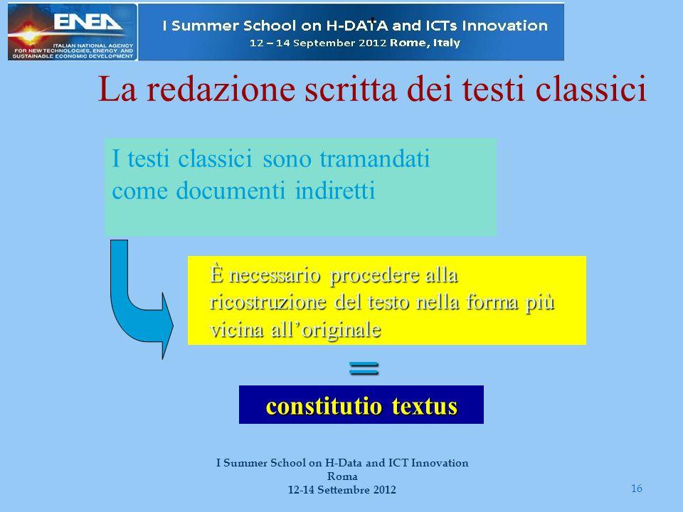 16 I Summer School on H-Data and ICT Innovation Roma 12-14 Settembre 2012 La redazione scritta dei testi classici I testi classici sono tramandati com