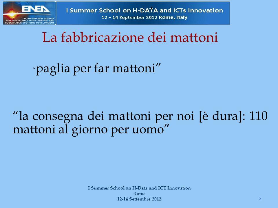 """La fabbricazione dei mattoni """"la consegna dei mattoni per noi [è dura]: 110 mattoni al giorno per uomo"""" 2 I Summer School on H-Data and ICT Innovation"""
