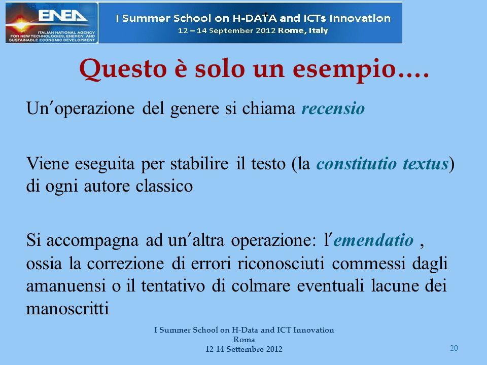 20 I Summer School on H-Data and ICT Innovation Roma 12-14 Settembre 2012 Questo è solo un esempio…. Un ' operazione del genere si chiama recensio Vie