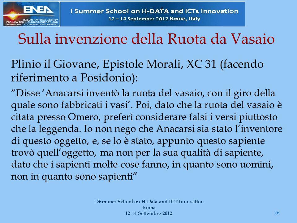 Sulla invenzione della Ruota da Vasaio Plinio il Giovane, Epistole Morali, XC 31 (facendo riferimento a Posidonio): Disse 'Anacarsi inventò la ruota del vasaio, con il giro della quale sono fabbricati i vasi'.