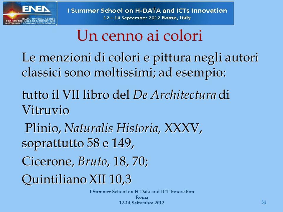 Un cenno ai colori Le menzioni di colori e pittura negli autori classici sono moltissimi; ad esempio: tutto il VII libro del De Architectura di Vitruv