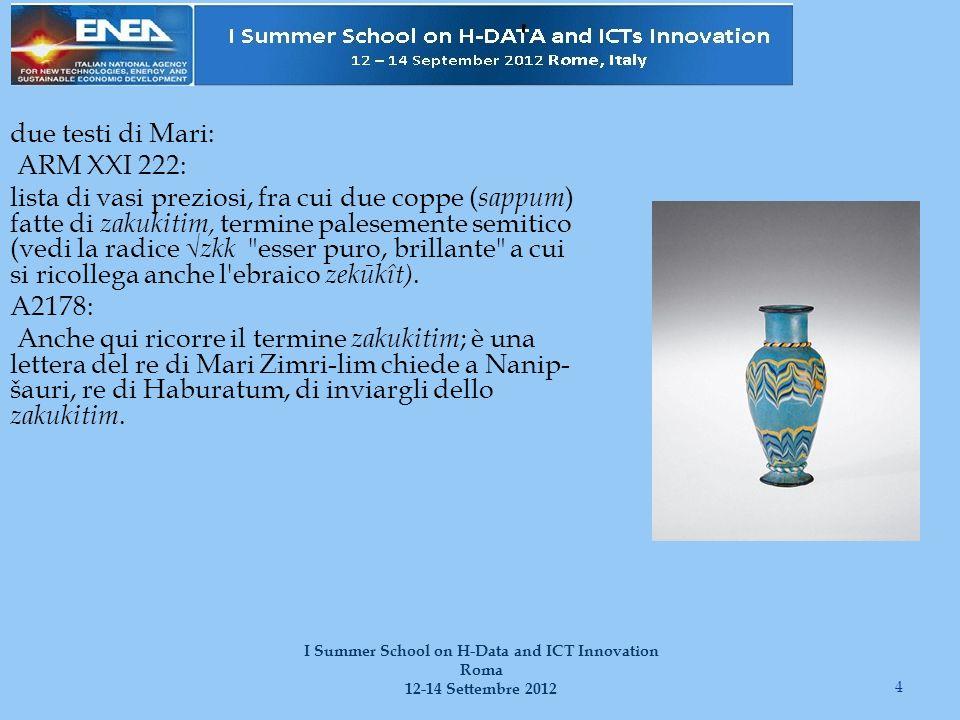 due testi di Mari: ARM XXI 222: lista di vasi preziosi, fra cui due coppe ( sappum ) fatte di zakukitim, termine palesemente semitico (vedi la radice