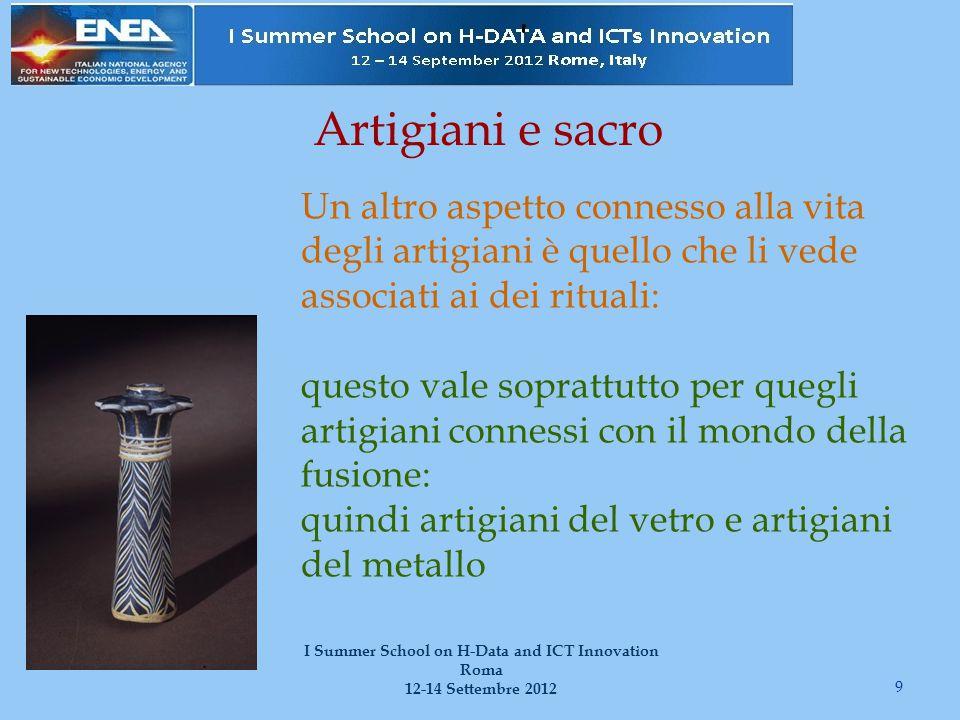 Artigiani e sacro 9 I Summer School on H-Data and ICT Innovation Roma 12-14 Settembre 2012 Un altro aspetto connesso alla vita degli artigiani è quell