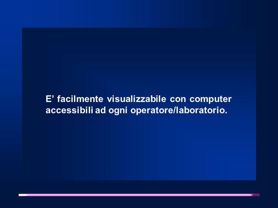 E' facilmente visualizzabile con computer accessibili ad ogni operatore/laboratorio.