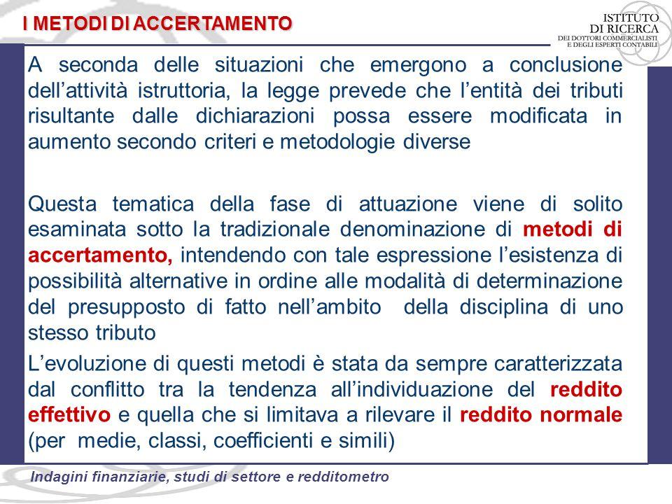 44 Indagini finanziarie, studi di settore e redditometro Il novellato art.