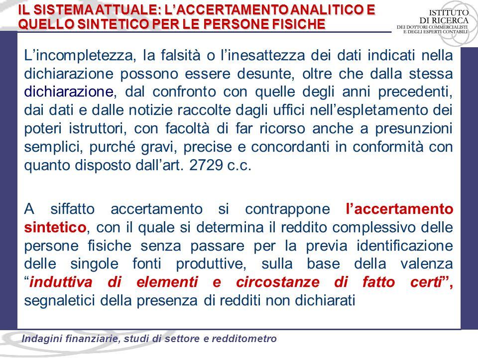 46 Indagini finanziarie, studi di settore e redditometro Un'ulteriore modifica è stata apportata alla disciplina dell'accertamento sintetico dal decreto semplificazioni fiscali (D.L.