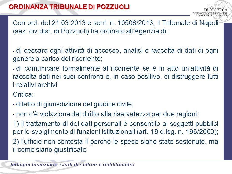 52 Indagini finanziarie, studi di settore e redditometro Con ord. del 21.03.2013 e sent. n. 10508/2013, il Tribunale di Napoli (sez. civ.dist. di Pozz