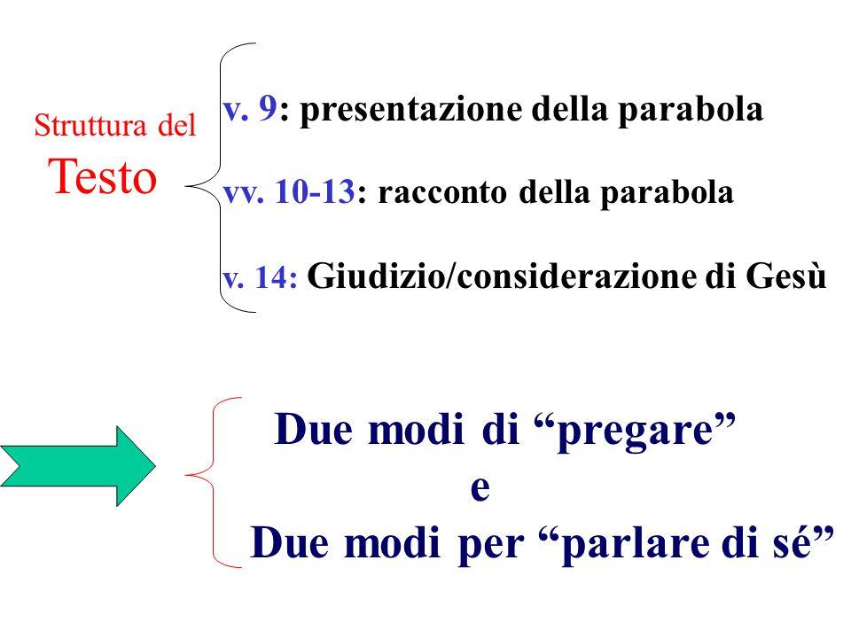 v.9: presentazione della parabola vv. 10-13: racconto della parabola v.