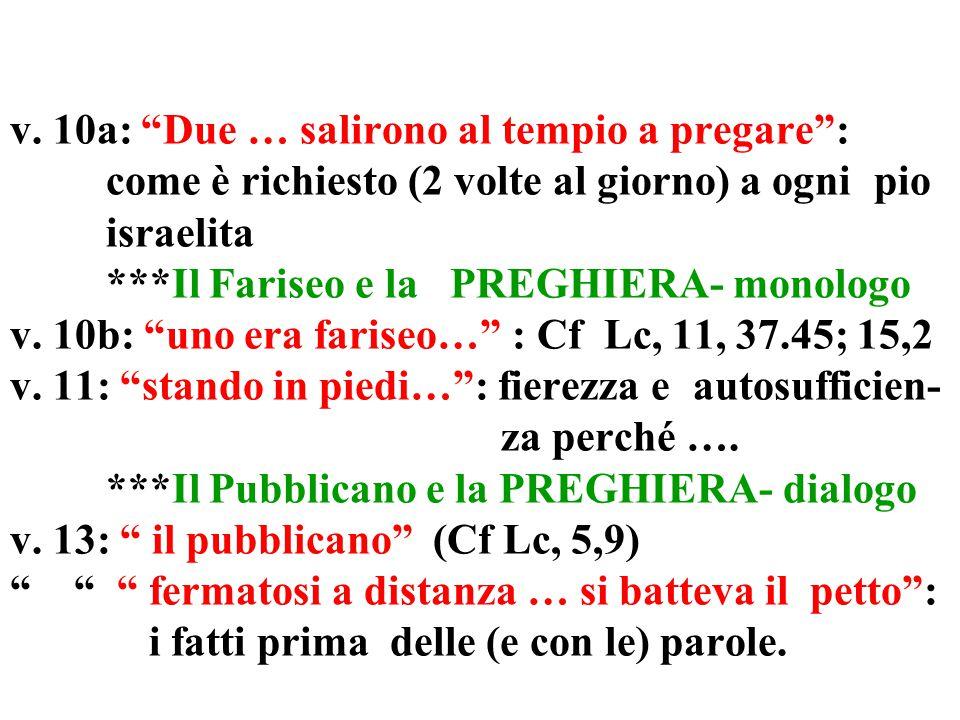"""v. 9: presentazione della parabola vv. 10-13: racconto della parabola v. 14: Giudizio/considerazione di Gesù Due modi di """"pregare"""" e Due modi per """"par"""