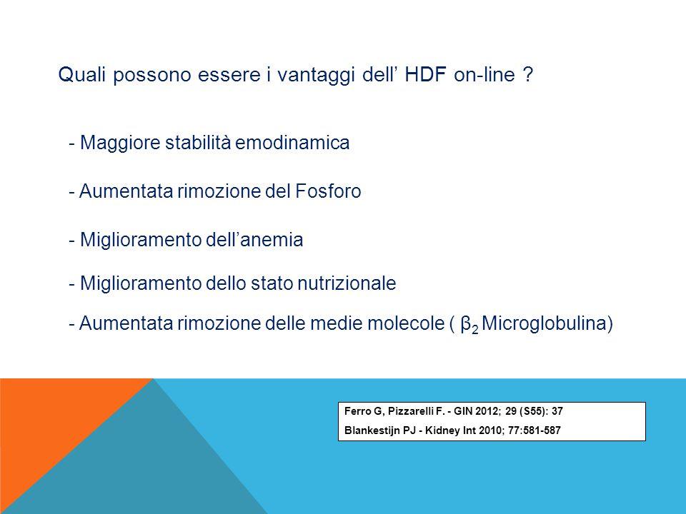 Quali possono essere i vantaggi dell' HDF on-line ? - Maggiore stabilità emodinamica - Aumentata rimozione del Fosforo - Miglioramento dell'anemia - M