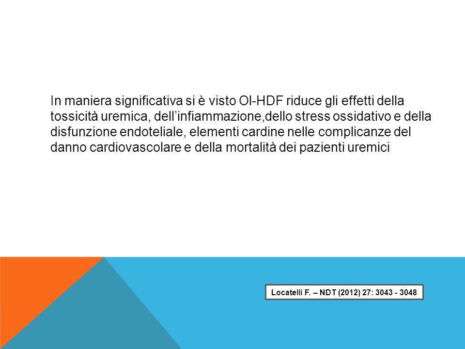 In maniera significativa si è visto Ol-HDF riduce gli effetti della tossicità uremica, dell'infiammazione,dello stress ossidativo e della disfunzione