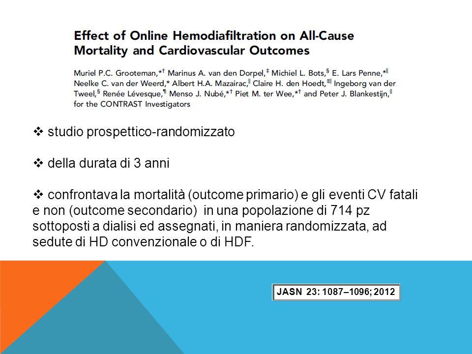  studio prospettico-randomizzato  della durata di 3 anni  confrontava la mortalità (outcome primario) e gli eventi CV fatali e non (outcome seconda