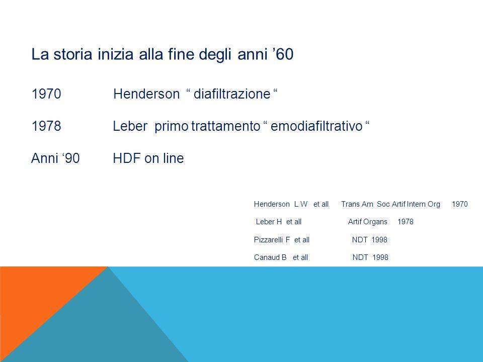 """La storia inizia alla fine degli anni '60 1970 Henderson """" diafiltrazione """" 1978 Leber primo trattamento """" emodiafiltrativo """" Anni '90 HDF on line Hen"""