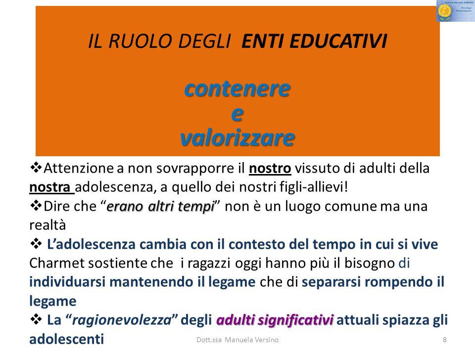 Dott.ssa Manuela Versino8  Attenzione a non sovrapporre il nostro vissuto di adulti della nostra adolescenza, a quello dei nostri figli-allievi.