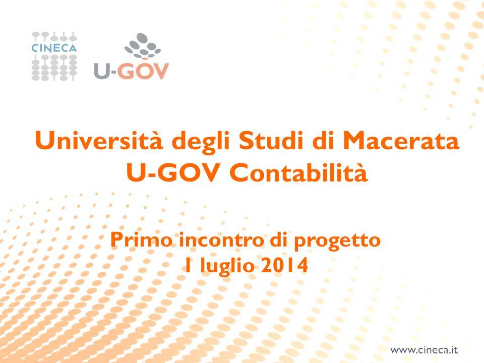 www.cineca.it Primo incontro di progetto 1 luglio 2014 Università degli Studi di Macerata U-GOV Contabilità