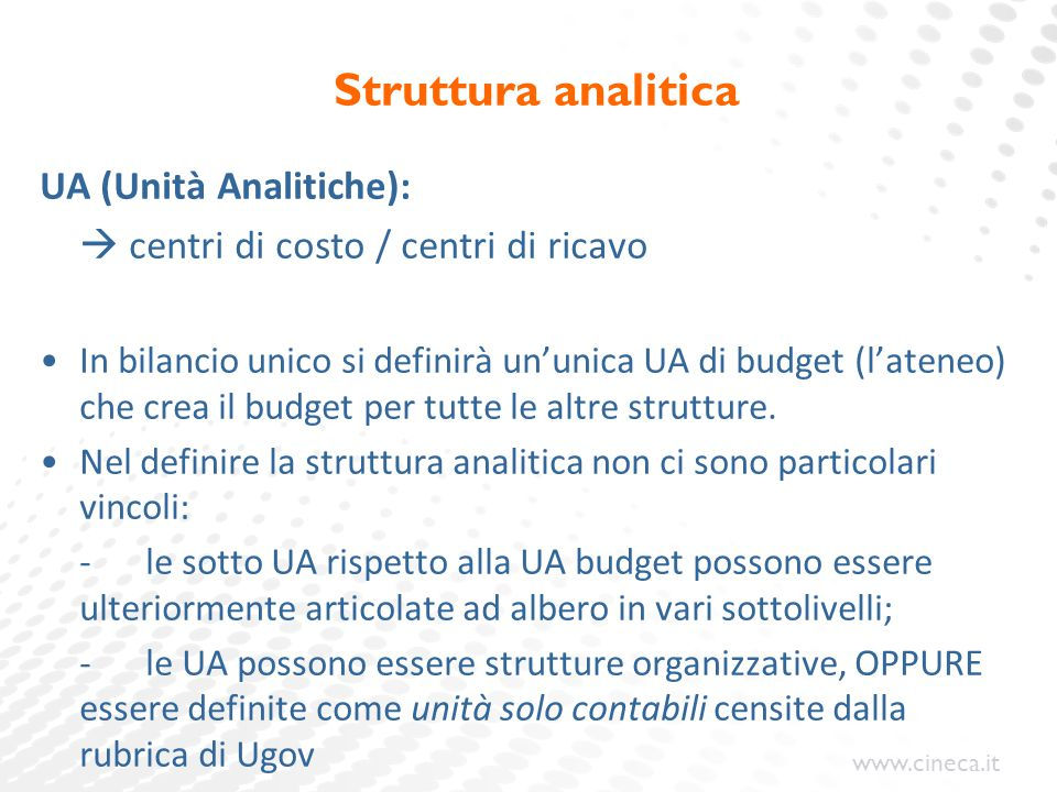 www.cineca.it Struttura analitica UA (Unità Analitiche):  centri di costo / centri di ricavo In bilancio unico si definirà un'unica UA di budget (l'a