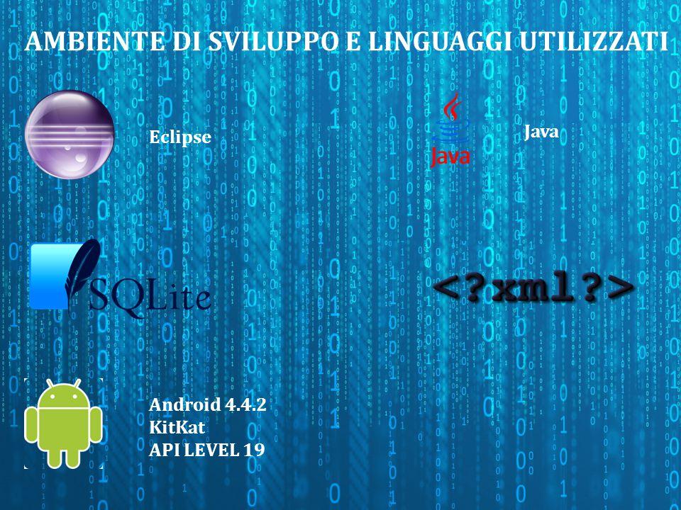 AMBIENTE DI SVILUPPO E LINGUAGGI UTILIZZATI Eclipse Android 4.4.2 KitKat API LEVEL 19 Java