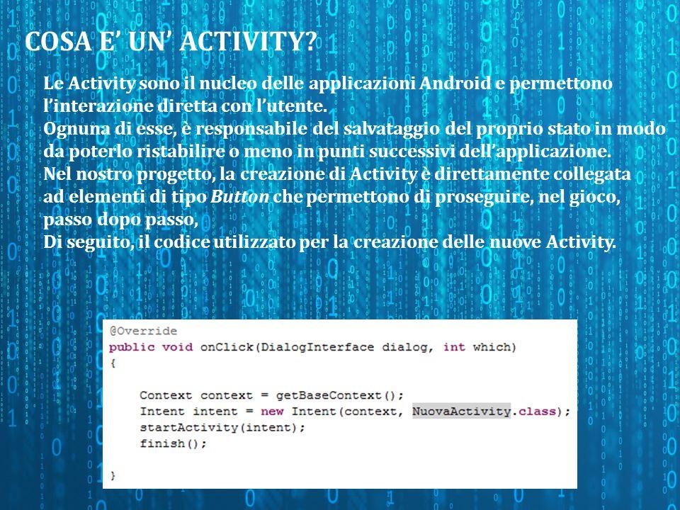 DATABASE (1/3) Per la gestione e la creazione delle domande, è stato creato un database SqLite in modo da poter inserire i dati con semplicità ed estrarli tramite semplici query.