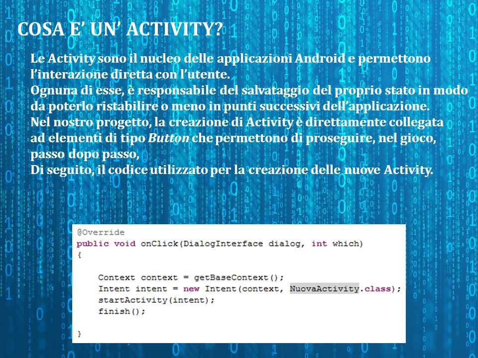 COSA E' UN' ACTIVITY.