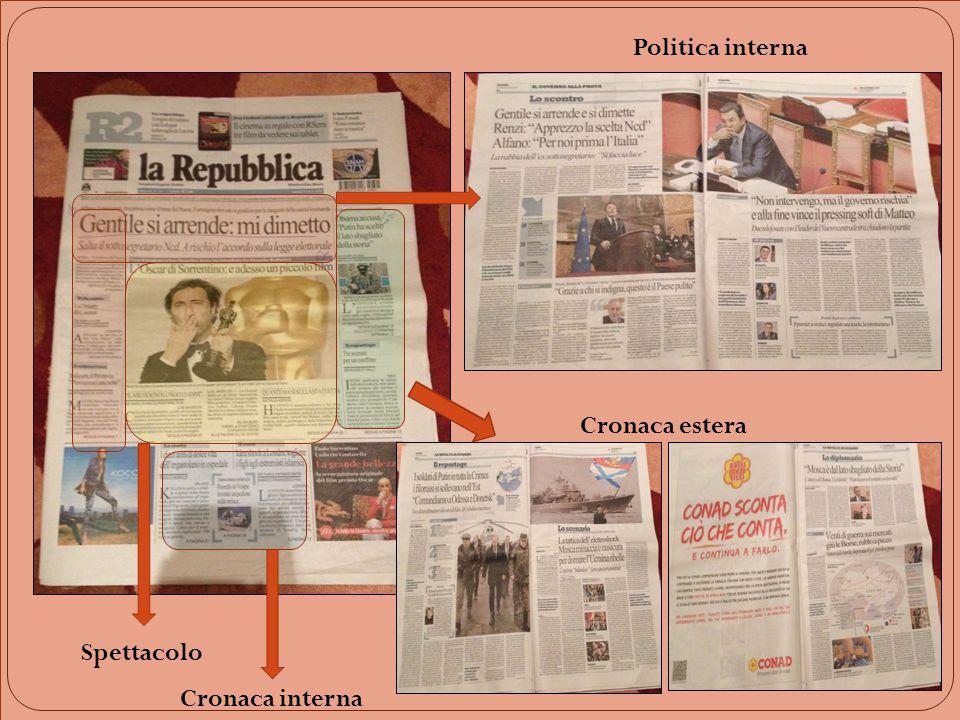 Spettacolo Cronaca interna Cronaca estera Politica interna
