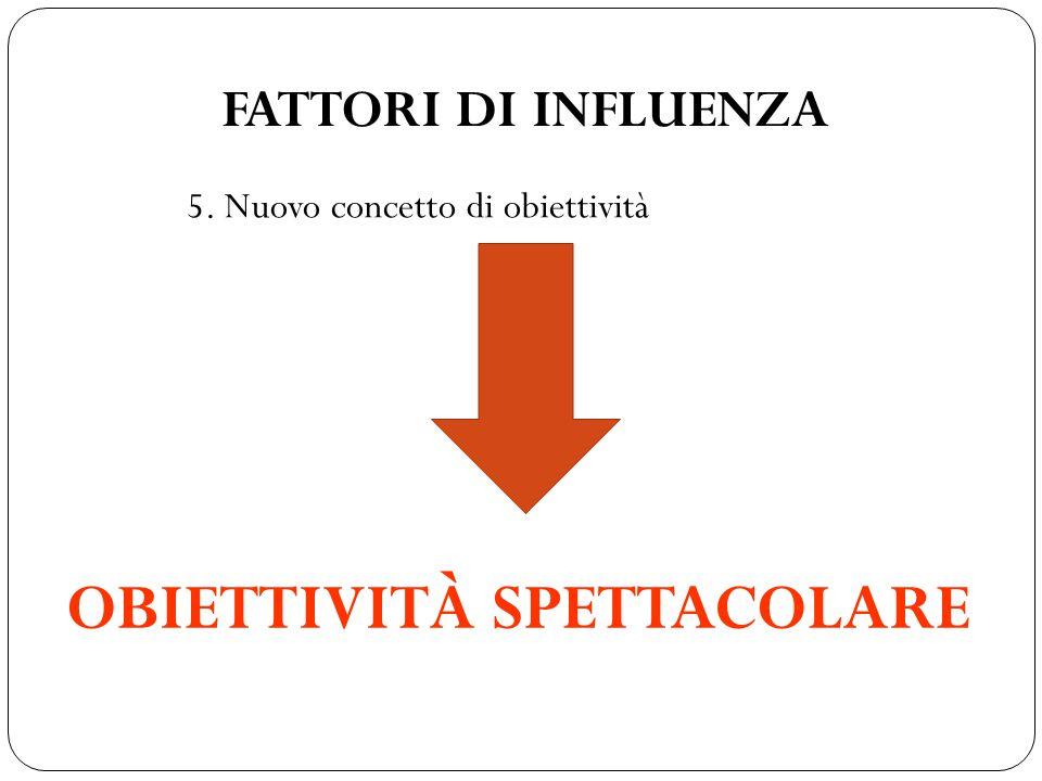 FATTORI DI INFLUENZA 5. Nuovo concetto di obiettività OBIETTIVITÀ SPETTACOLARE