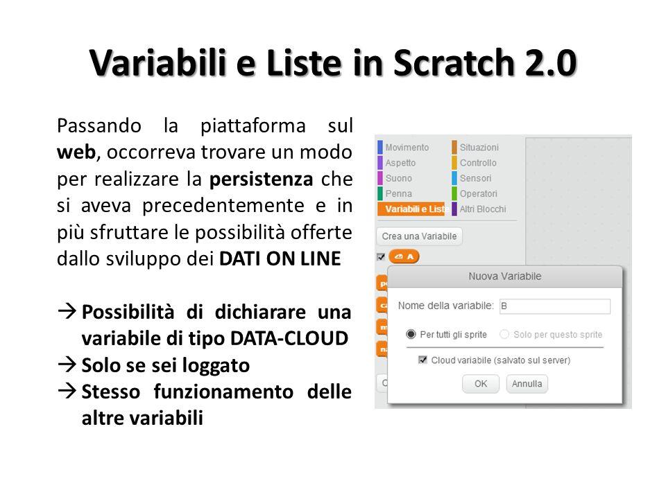 Variabili e Liste in Scratch 2.0 Passando la piattaforma sul web, occorreva trovare un modo per realizzare la persistenza che si aveva precedentemente