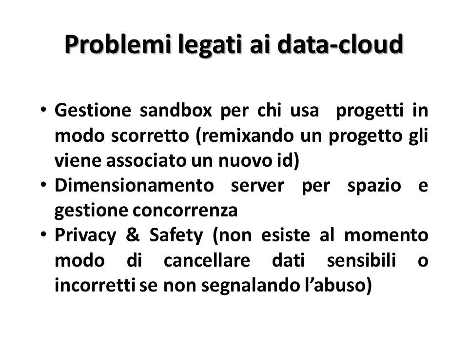 Problemi legati ai data-cloud Gestione sandbox per chi usa progetti in modo scorretto (remixando un progetto gli viene associato un nuovo id) Dimensio