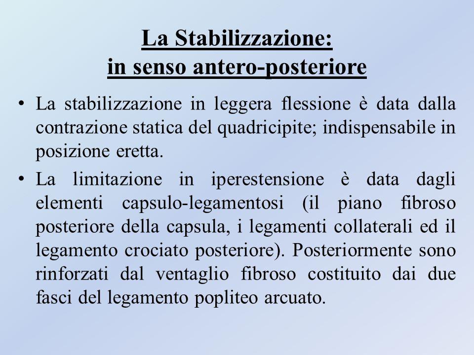La Stabilizzazione: in senso antero-posteriore La stabilizzazione in leggera flessione è data dalla contrazione statica del quadricipite; indispensabi