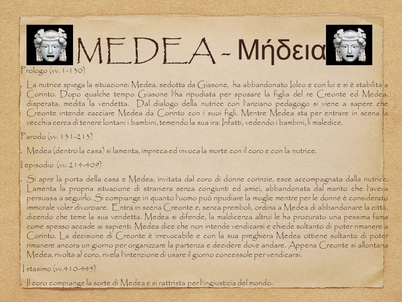 MEDEA - Μήδεια Prologo (vv. 1-130) La nutrice spiega la situazione: Medea, sedotta da Giasone, ha abbandonato Iolco e con lui e si è stabilita a Corin
