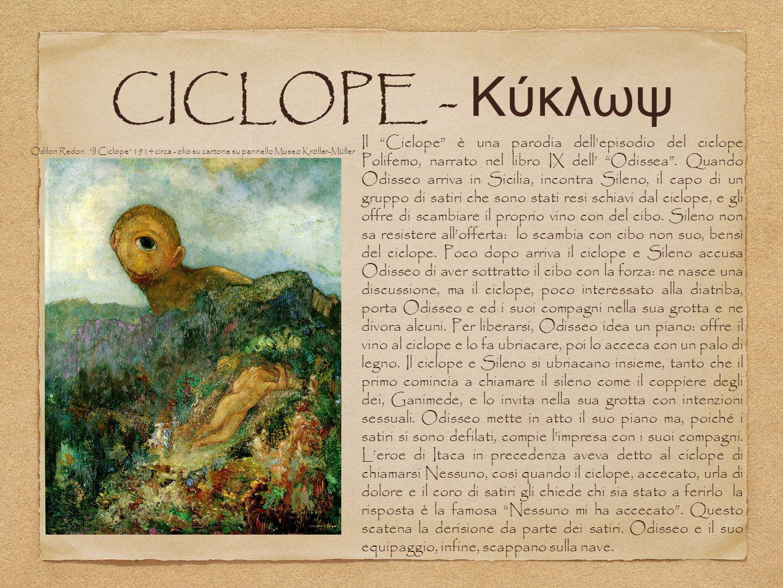 CICLOPE - Κύκλωψ Il Ciclope è una parodia dell episodio del ciclope Polifemo, narrato nel libro IX dell' Odissea .