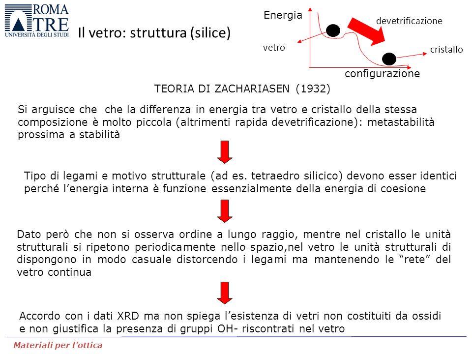 TEORIA DI ZACHARIASEN (1932) Si arguisce che che la differenza in energia tra vetro e cristallo della stessa composizione è molto piccola (altrimenti rapida devetrificazione): metastabilità prossima a stabilità Tipo di legami e motivo strutturale (ad es.