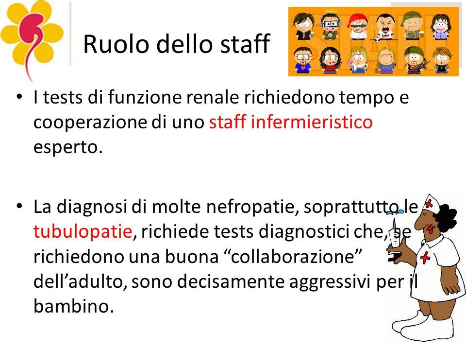 Ruolo dello staff I tests di funzione renale richiedono tempo e cooperazione di uno staff infermieristico esperto.