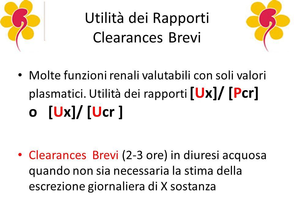 Utilità dei Rapporti Clearances Brevi Molte funzioni renali valutabili con soli valori plasmatici.