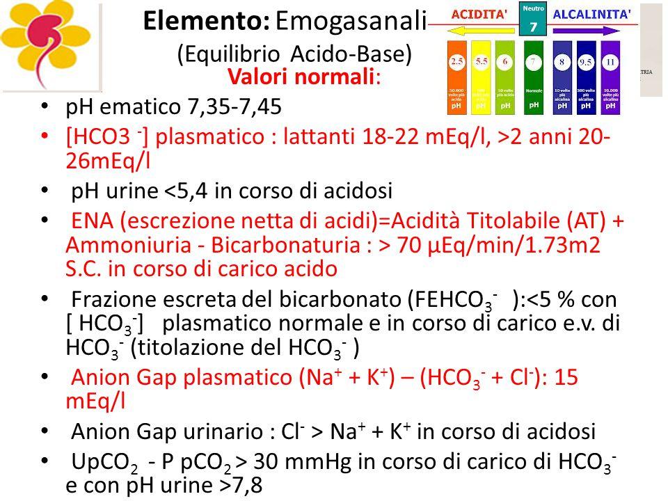 Elemento: Emogasanalisi (Equilibrio Acido-Base) Valori normali: pH ematico 7,35-7,45 [HCO3 - ] plasmatico : lattanti 18-22 mEq/l, >2 anni 20- 26mEq/l pH urine <5,4 in corso di acidosi ENA (escrezione netta di acidi)=Acidità Titolabile (AT) + Ammoniuria - Bicarbonaturia : > 70 μEq/min/1.73m2 S.C.