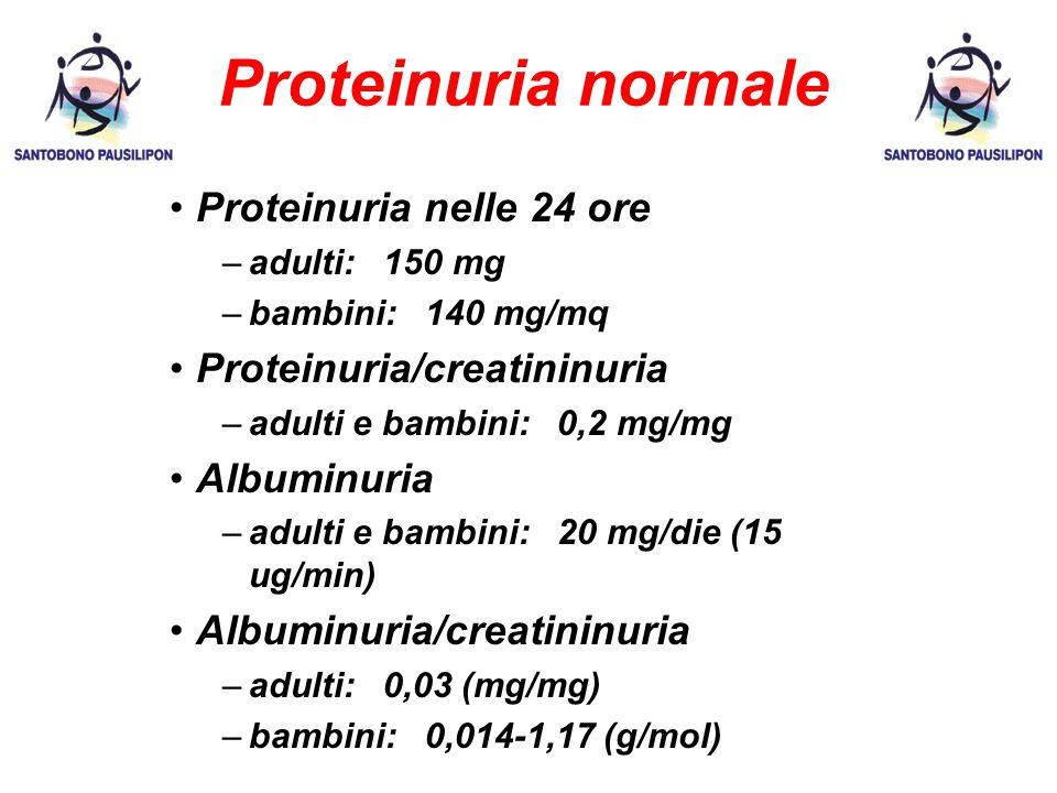 Proteinuria normale Proteinuria nelle 24 ore –adulti: 150 mg –bambini: 140 mg/mq Proteinuria/creatininuria –adulti e bambini: 0,2 mg/mg Albuminuria –adulti e bambini: 20 mg/die (15 ug/min) Albuminuria/creatininuria –adulti: 0,03 (mg/mg) –bambini: 0,014-1,17 (g/mol)