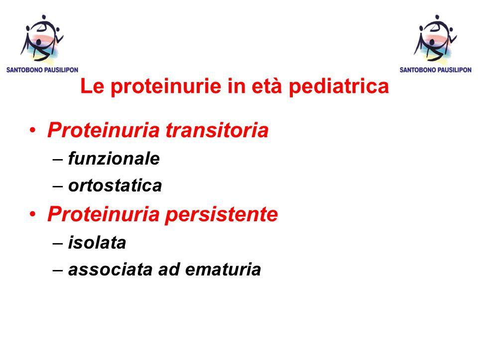 Le proteinurie in età pediatrica Proteinuria transitoria –funzionale –ortostatica Proteinuria persistente –isolata –associata ad ematuria
