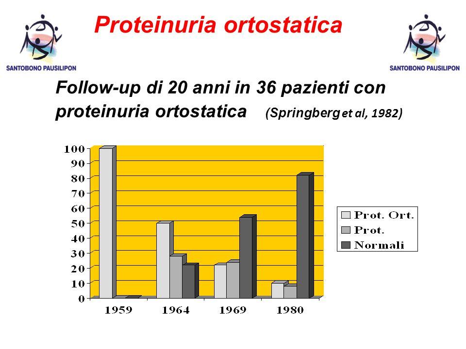 Proteinuria ortostatica Follow-up di 20 anni in 36 pazienti con proteinuria ortostatica (Springberg et al, 1982)