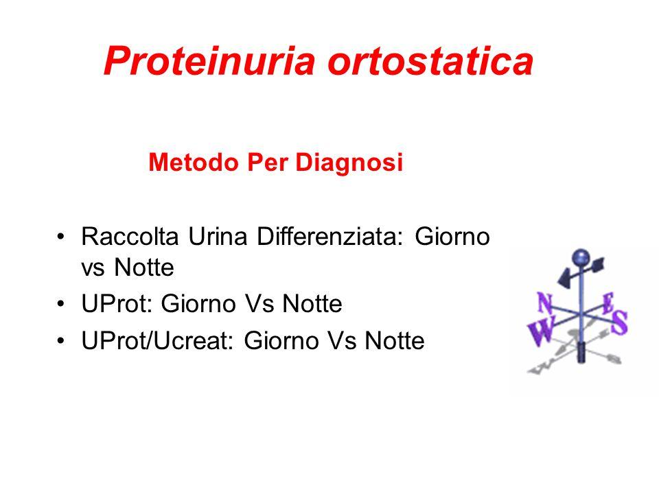 Proteinuria ortostatica Metodo Per Diagnosi Raccolta Urina Differenziata: Giorno vs Notte UProt: Giorno Vs Notte UProt/Ucreat: Giorno Vs Notte