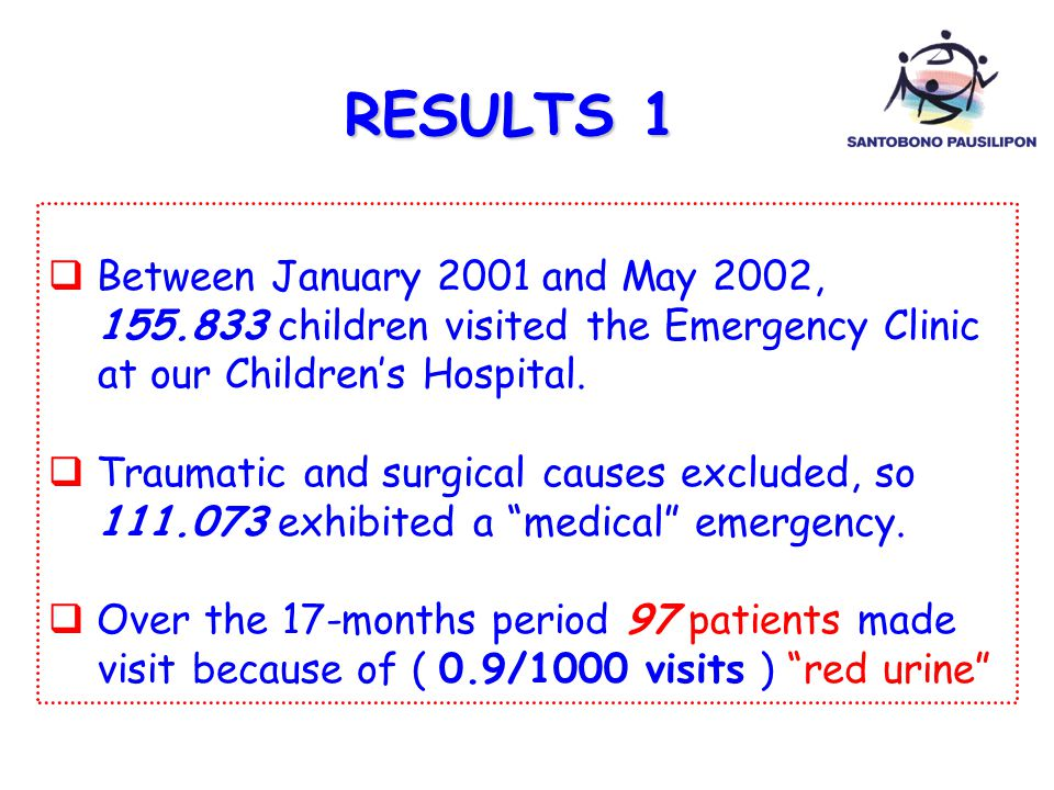  Between January 2001 and May 2002, 155.833 children visited the Emergency Clinic at our Children's Hospital.