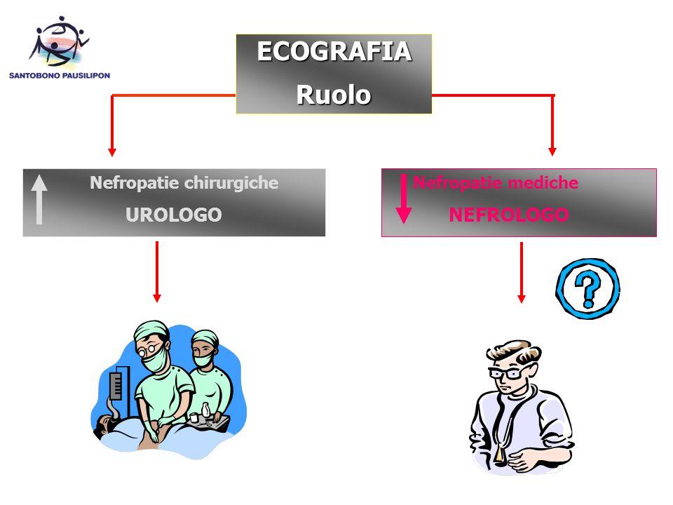 ECOGRAFIARuolo Nefropatie chirurgiche UROLOGO Nefropatie mediche NEFROLOGO