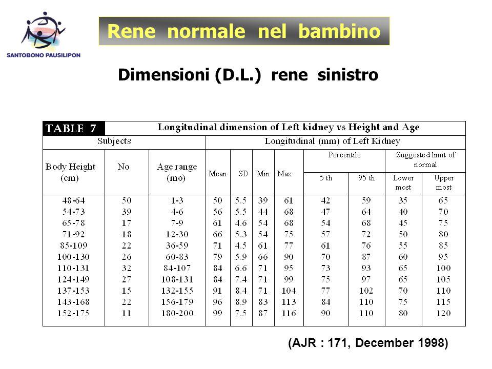 Rene normale nel bambino Dimensioni (D.L.) rene sinistro (AJR : 171, December 1998)