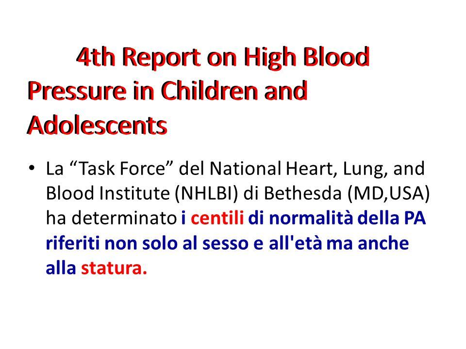 La Task Force del National Heart, Lung, and Blood Institute (NHLBI) di Bethesda (MD,USA) ha determinato i centili di normalità della PA riferiti non solo al sesso e all età ma anche alla statura.