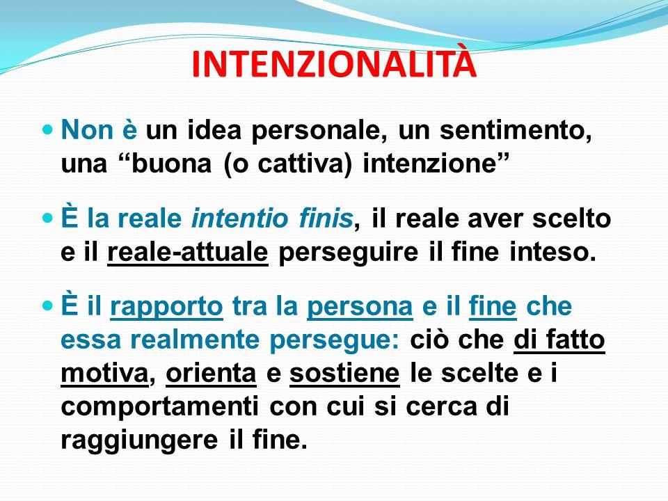 INTENZIONALITÀ Non è un idea personale, un sentimento, una buona (o cattiva) intenzione È la reale intentio finis, il reale aver scelto e il reale-attuale perseguire il fine inteso.