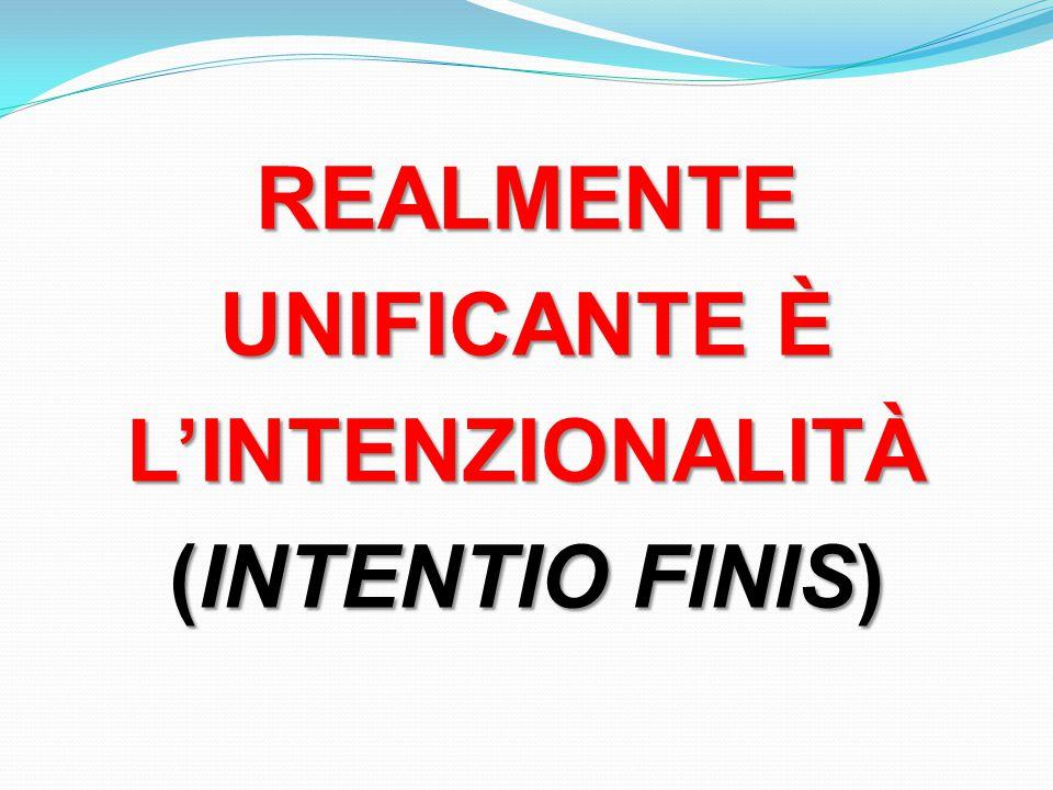 REALMENTE UNIFICANTE È L'INTENZIONALITÀ (INTENTIO FINIS)