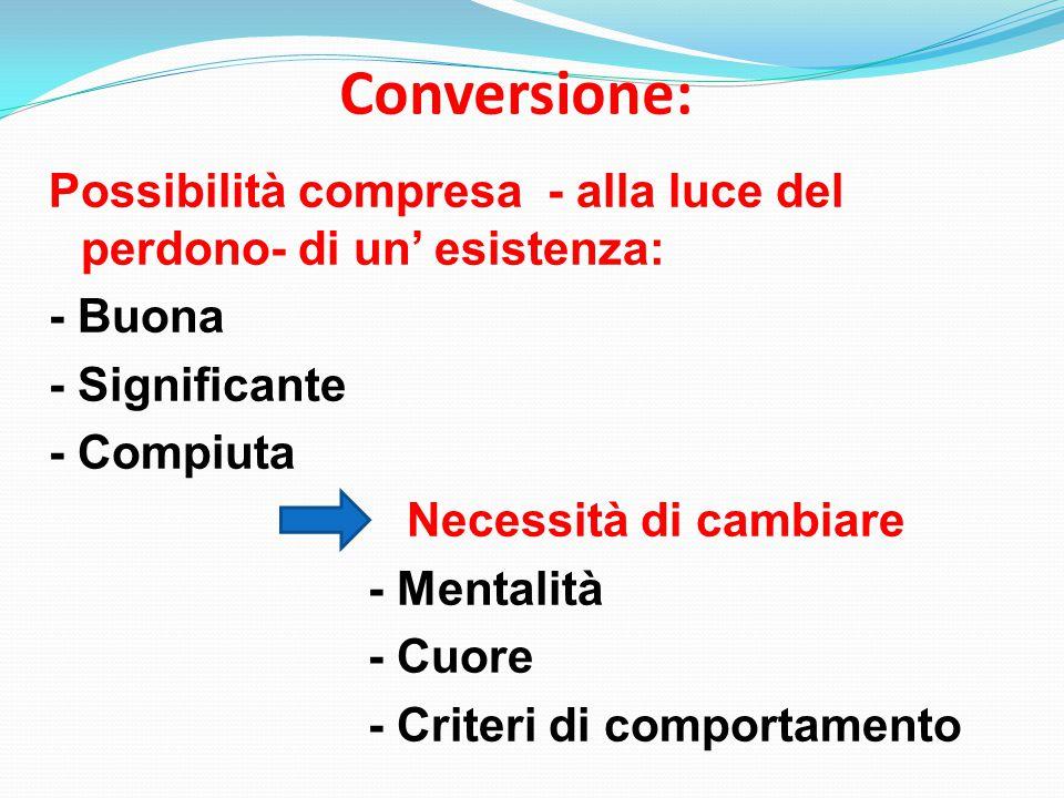 Conversione: Possibilità compresa - alla luce del perdono- di un' esistenza: - Buona - Significante - Compiuta Necessità di cambiare - Mentalità - Cuore - Criteri di comportamento