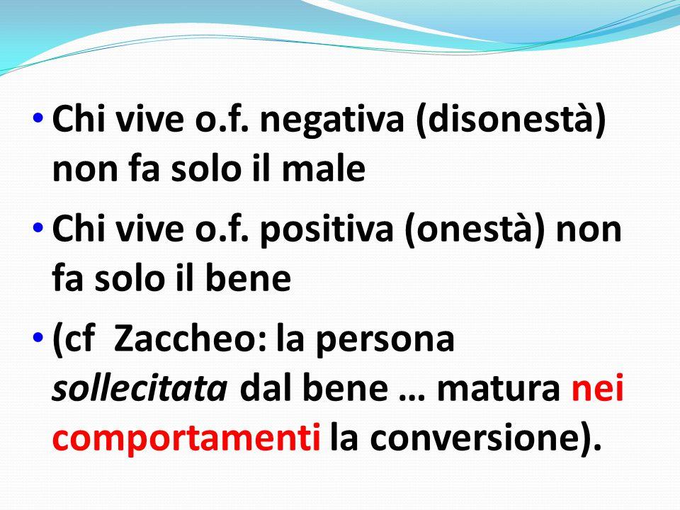 Chi vive o.f.negativa (disonestà) non fa solo il male Chi vive o.f.