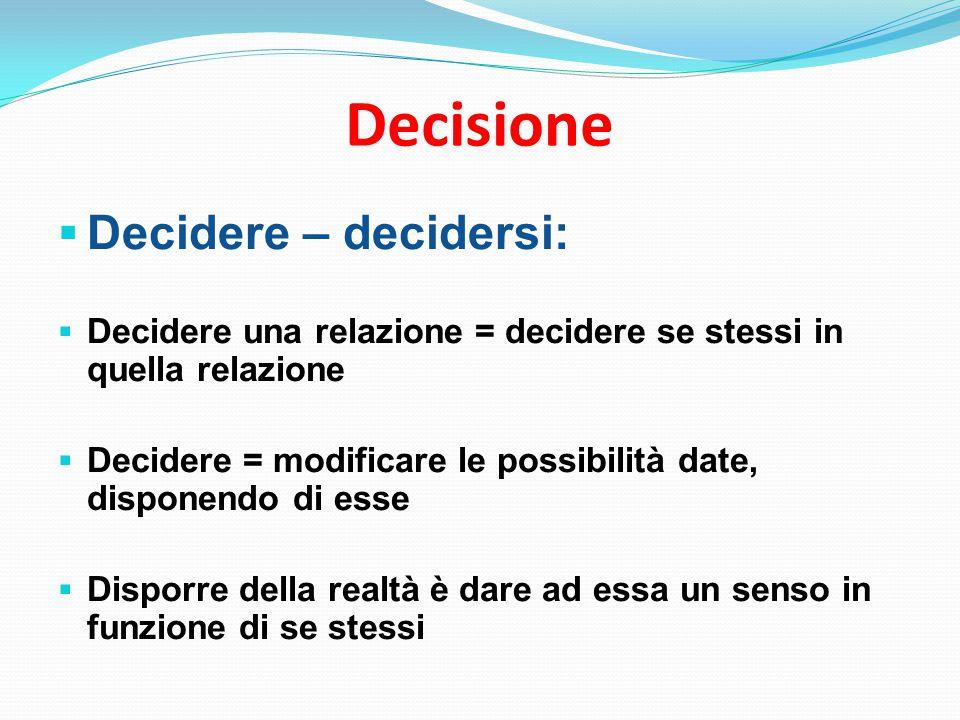 Decisione  Decidere – decidersi:  Decidere una relazione = decidere se stessi in quella relazione  Decidere = modificare le possibilità date, disponendo di esse  Disporre della realtà è dare ad essa un senso in funzione di se stessi