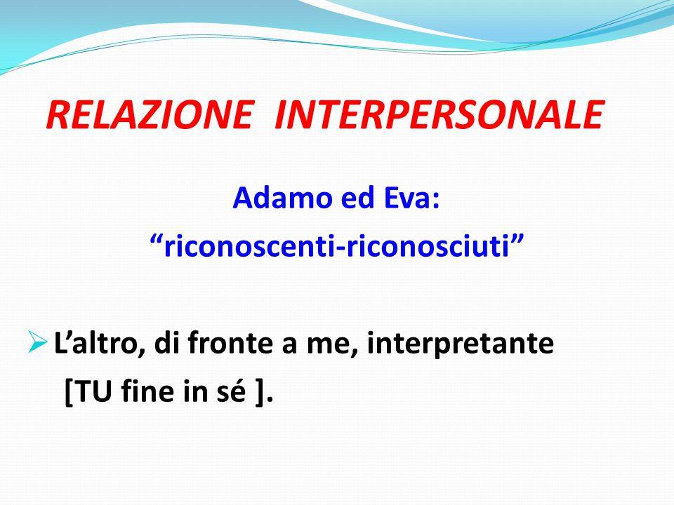 RELAZIONE INTERPERSONALE Adamo ed Eva: riconoscenti-riconosciuti  L'altro, di fronte a me, interpretante [TU fine in sé ].